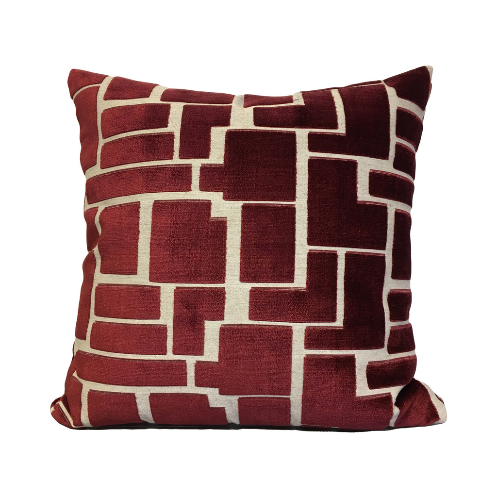 Aura Wine Red Geometric Throw Pillow 20x20""