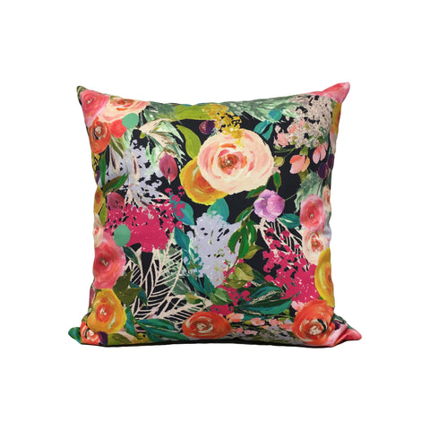 Autumn Blooms Painted Throw Pillow 17x17""