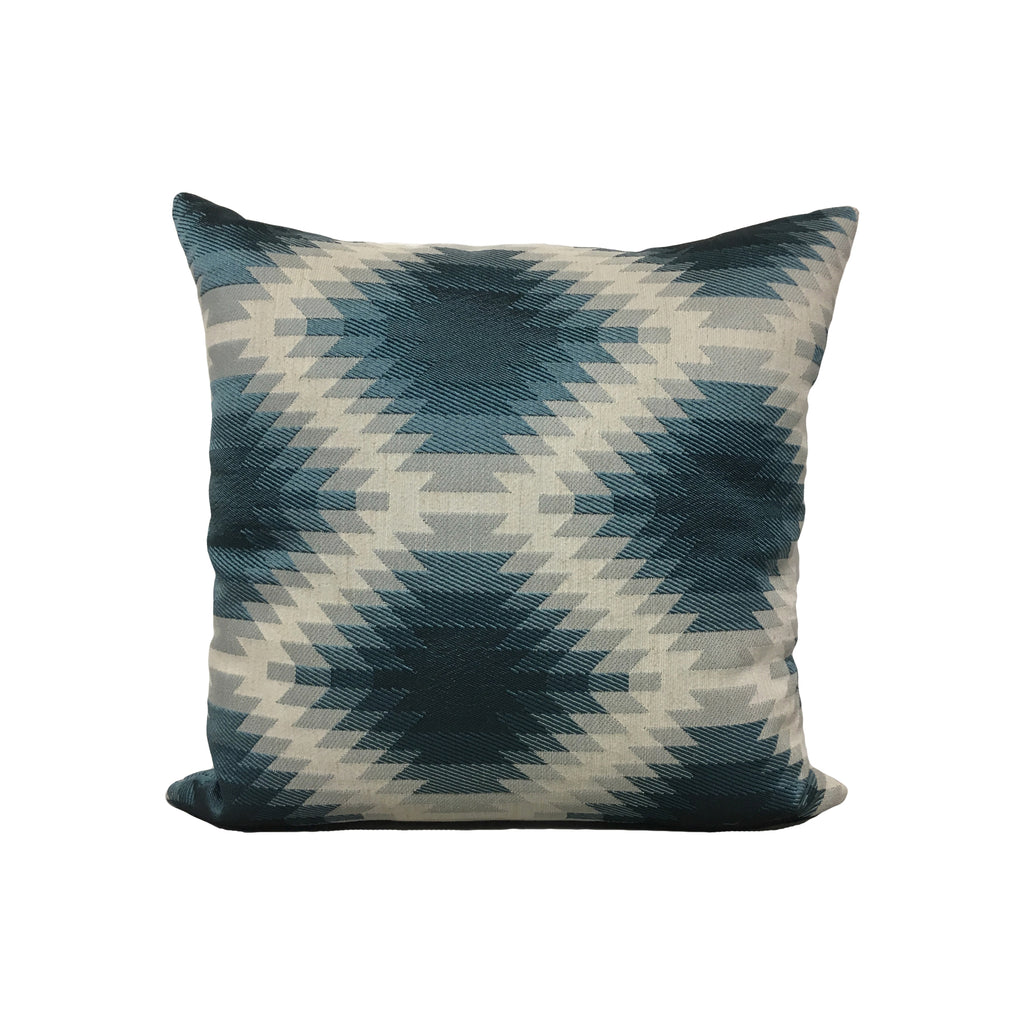 Aztec Blue Throw Pillow 17x17""