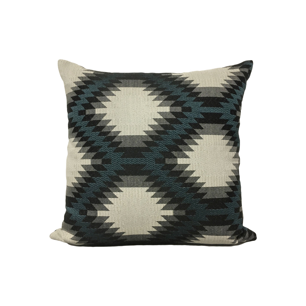 Aztec Blue Reverse Throw Pillow 17x17
