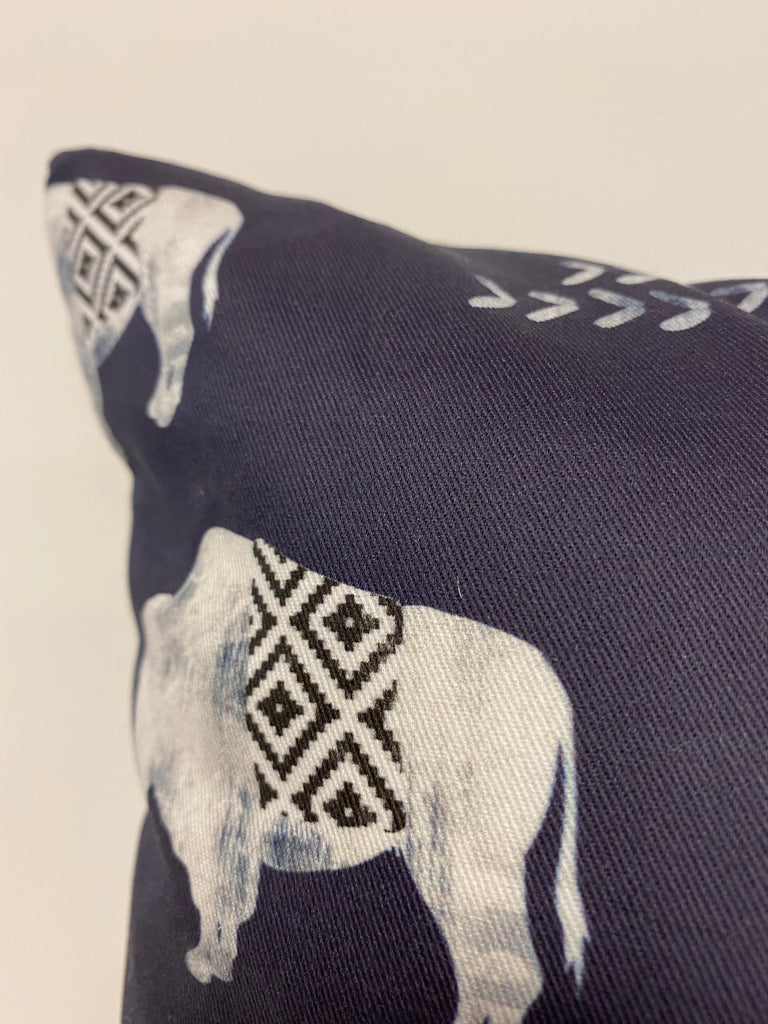 Aztec Buffalo Blue Throw Pillow 17x17""
