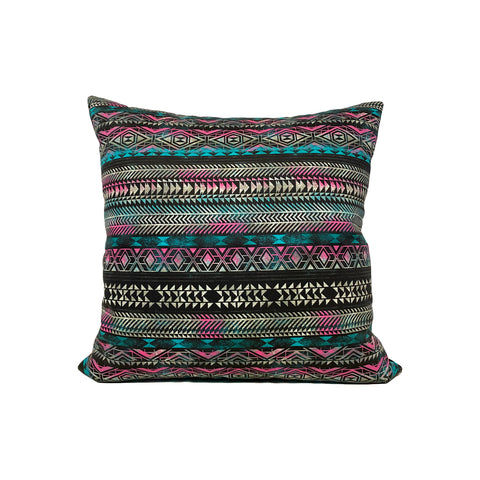 Aztec Lines Multicolour Throw Pillow 17x17""