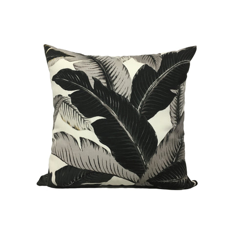 Bali Banana Leaves Liquorice Throw Pillow 17x17""