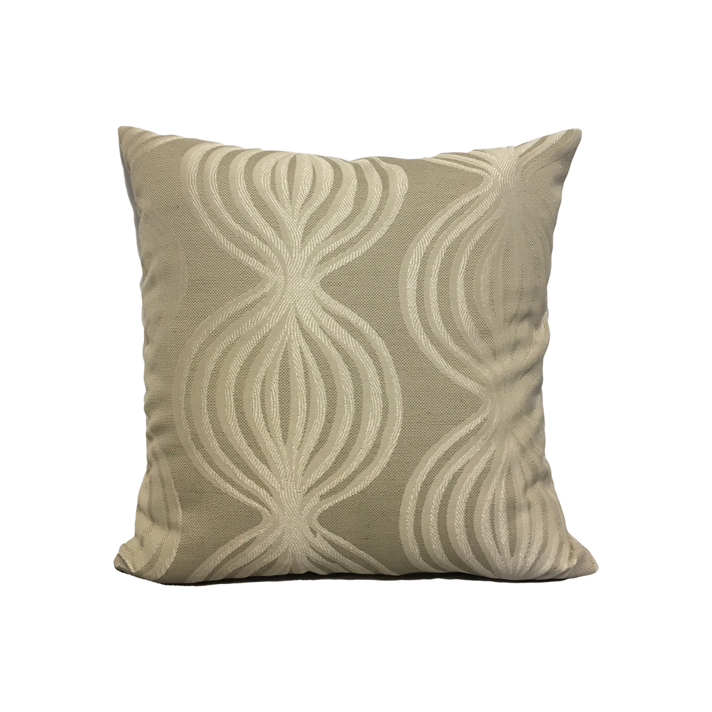 Belize Cream Geometric Throw Pillow 17x17""