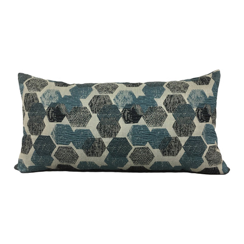 Blue Hex Lumbar Pillow 12x22""