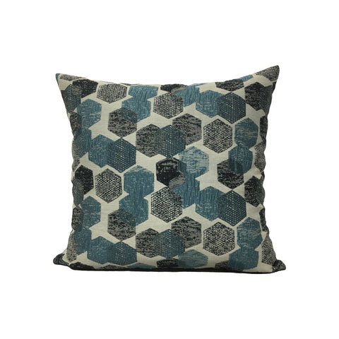 Blue Hex Throw Pillow 17x17""