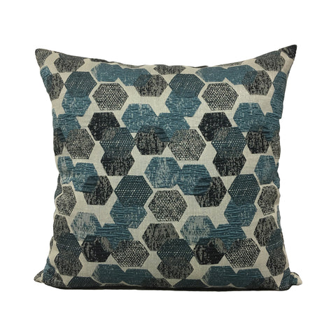 Blue Hex Throw Pillow 20x20""