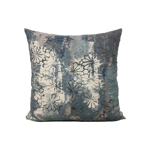 Blue Linen Floral Throw Pillow 17x17""
