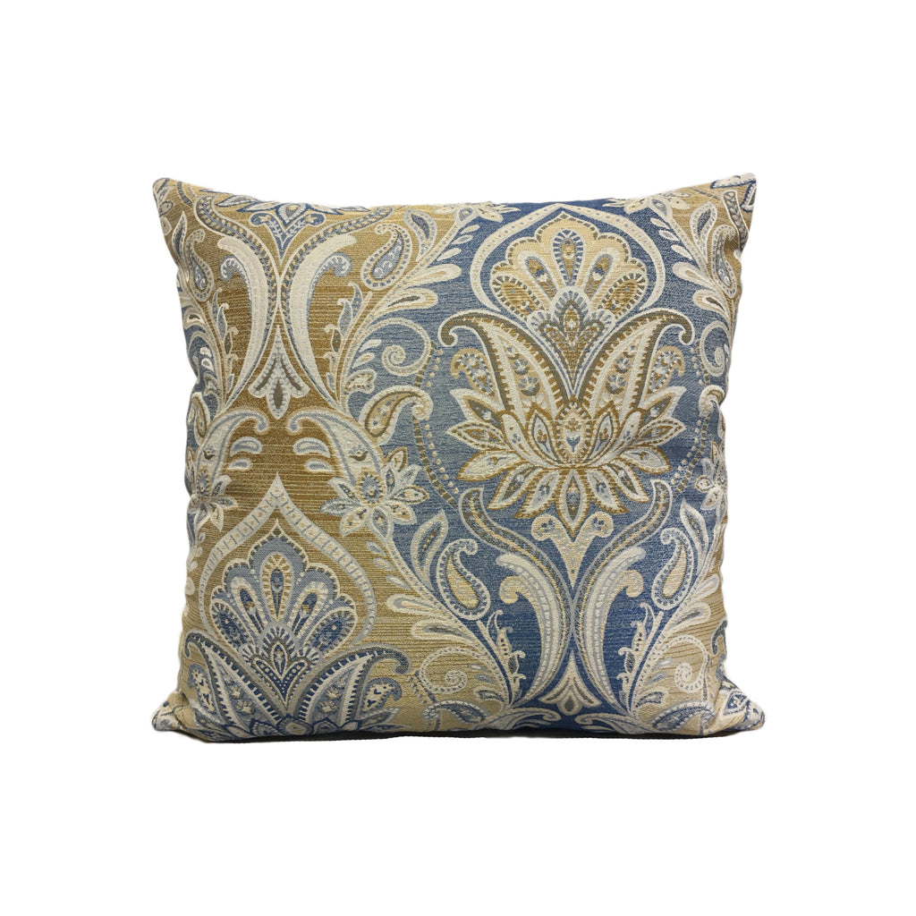 Candelabra Cobalt Paisley Throw Pillow 17x17""
