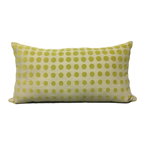 Celery Dots Lumbar Pillow 12x22""