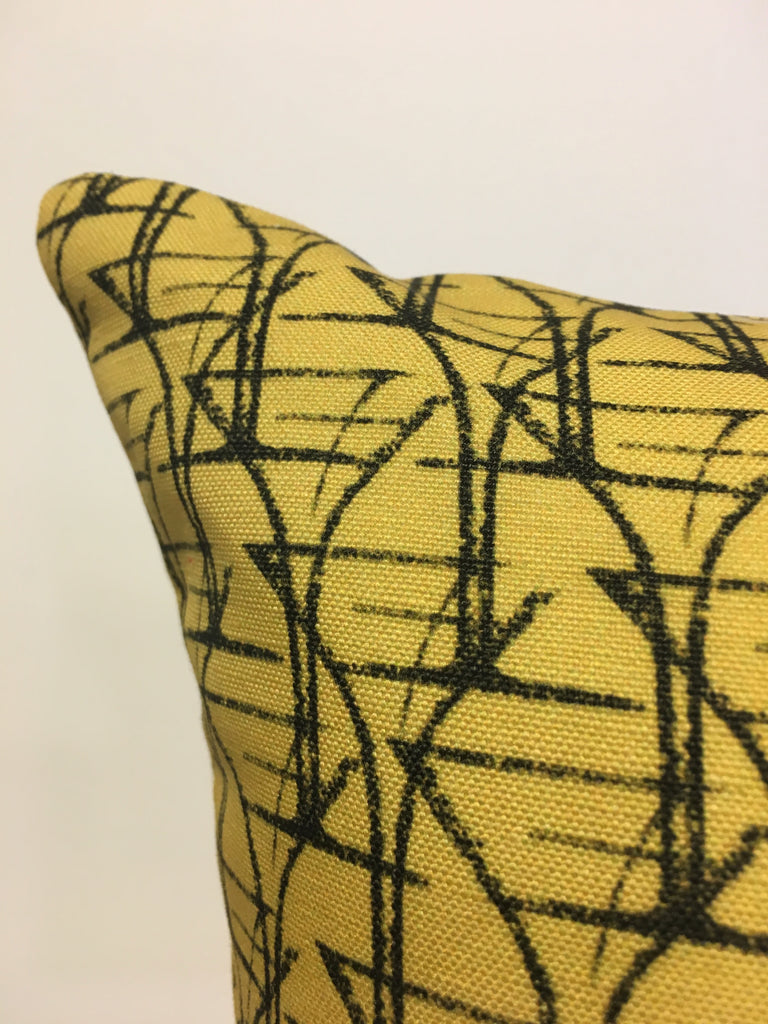 Cocktail Hour Yellow Art Deco Throw Pillow 17x17""
