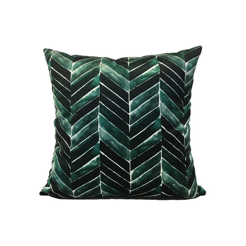Deep Green Chevron Throw Pillow 17x17""