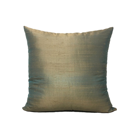 Dupioni Silk Antique Aqua Throw Pillow 17x17""