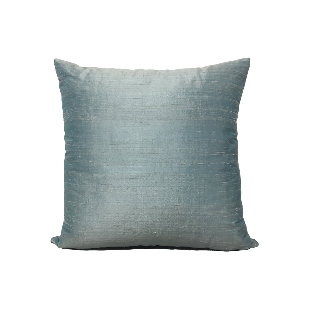 Dupioni Silk Antique Blue Throw Pillow 17x17""