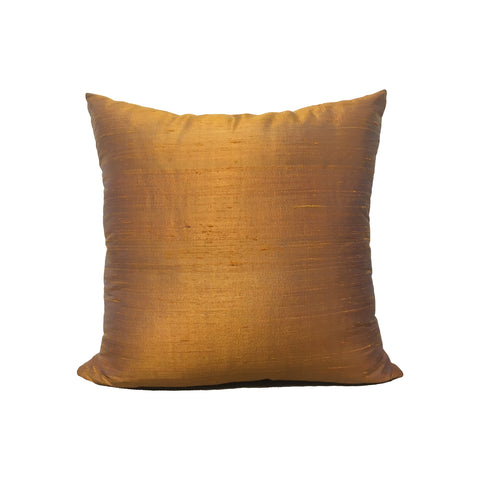 Dupioni Silk Antique Copper Throw Pillow 17x17""