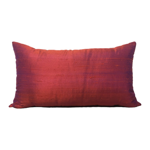 Dupioni Silk Arizona Sunset Lumbar Pillow 12x22""