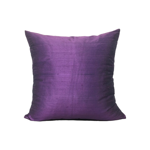 Dupioni Silk Black Raspberry Throw Pillow 17x17""