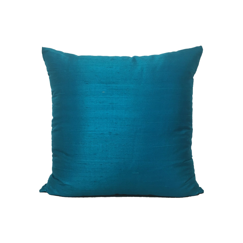 Dupioni Silk Caribbean Blue Throw Pillow 17x17""