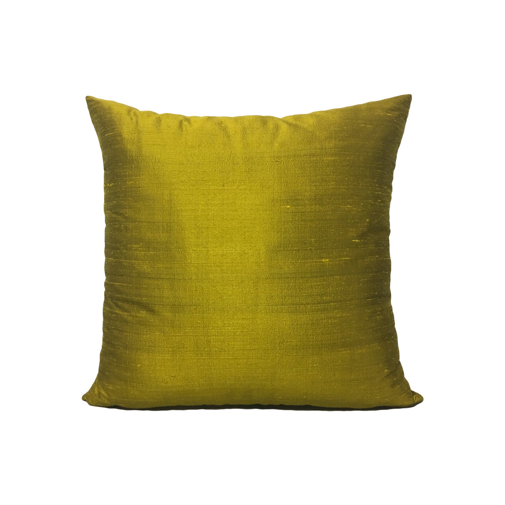 Dupioni Silk Citrine Throw Pillow 17x17""