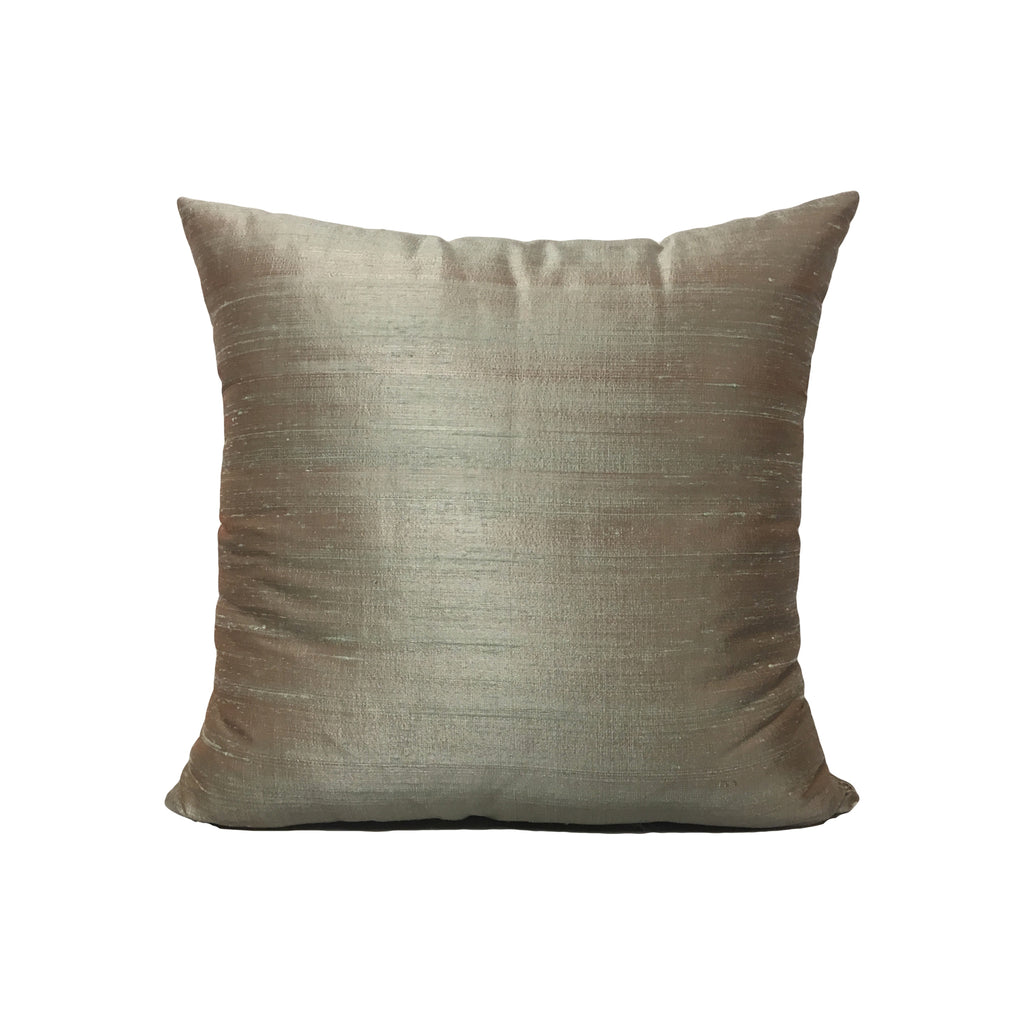 Dupioni Silk Frosted Elm Throw Pillow 17x17""