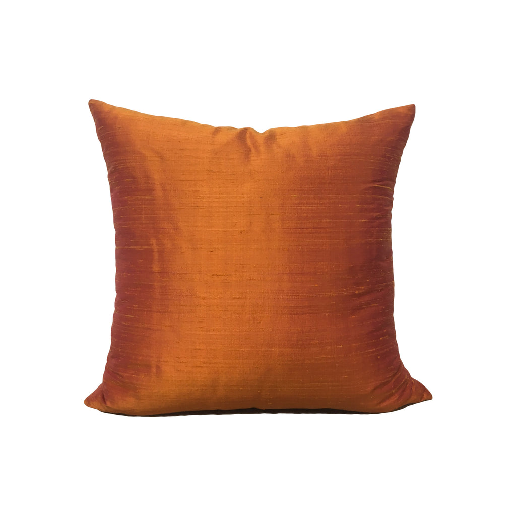 Dupioni Silk Mandarin Orange Throw Pillow 17x17""