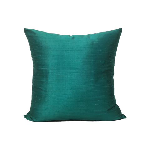 Dupioni Silk Mediterranean Blue Throw Pillow 17x17""