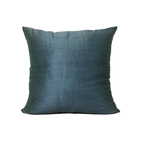 Dupioni Silk Peacock Throw Pillow 17x17""
