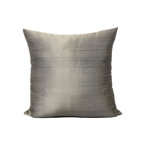 Dupioni Silk Platinum Throw Pillow 17x17""