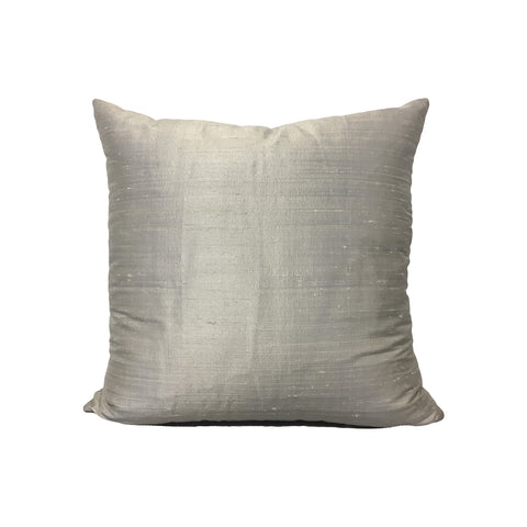 Dupioni Silk Silver Throw Pillow 17x17""