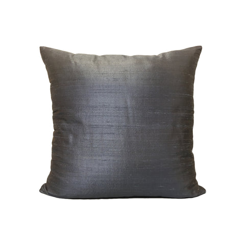 Dupioni Silk Slate Throw Pillow 17x17""