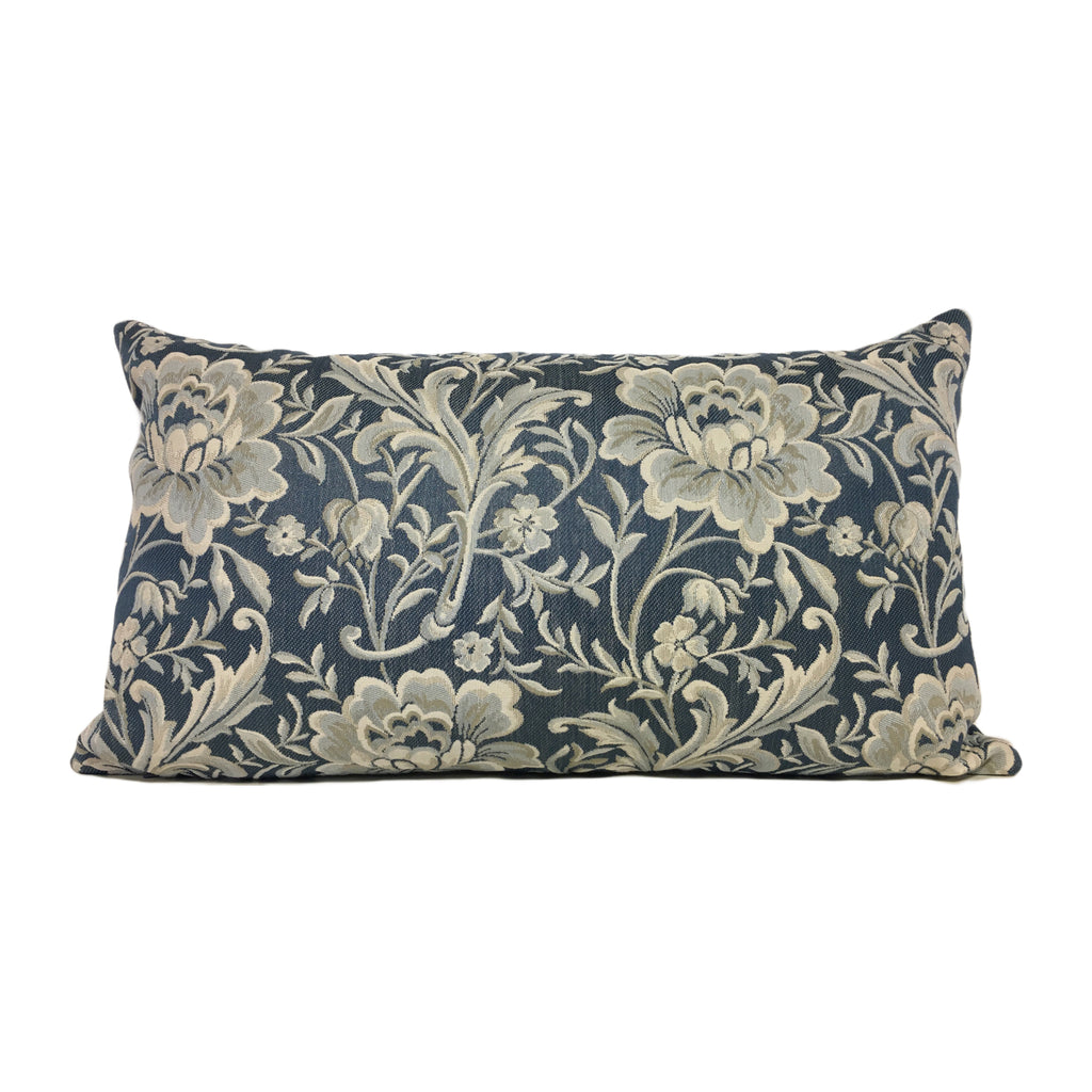 Dynasty Lapis Blue Lumbar Pillow 12x22""