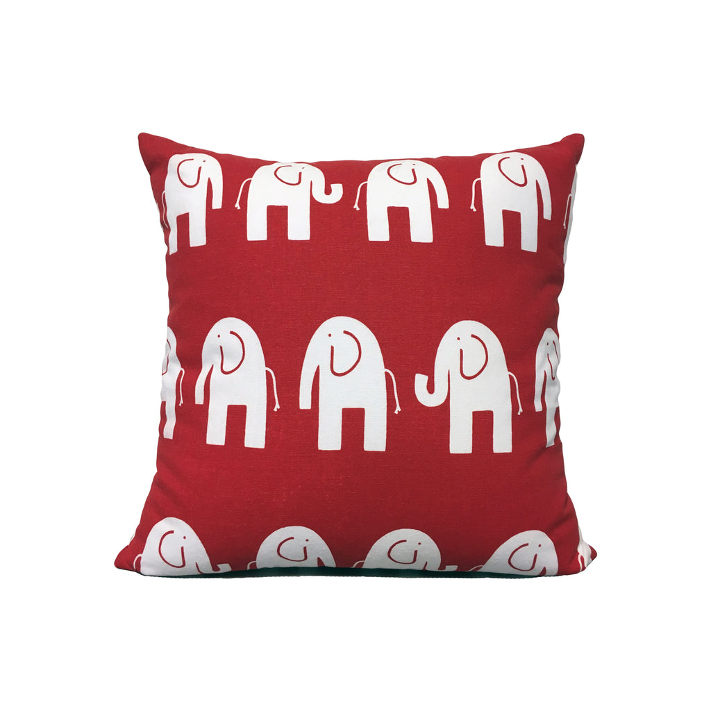 Ele Red Throw Pillow 17x17""
