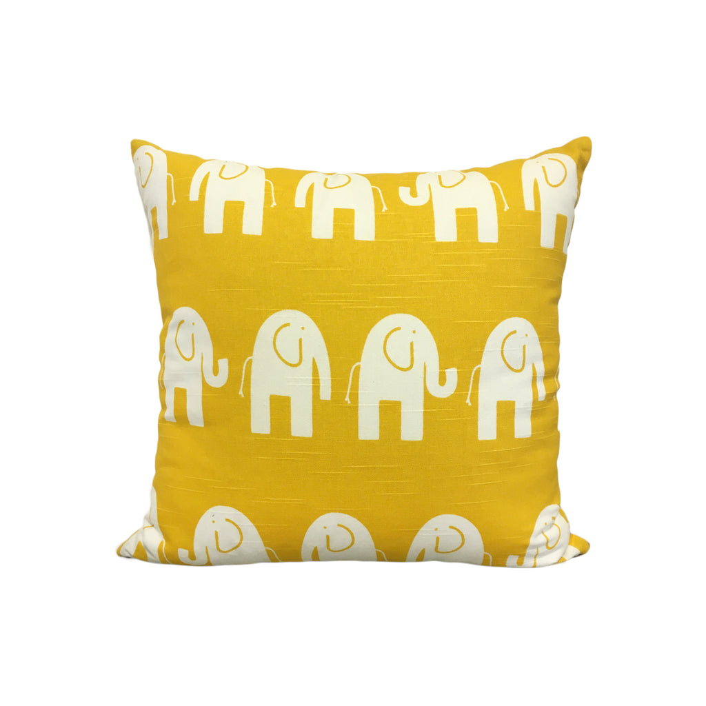 Ele Yellow Elephant Throw Pillow 17x17""