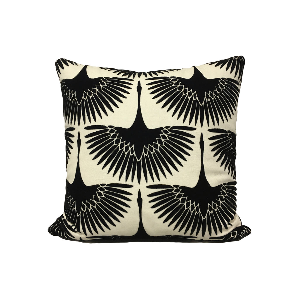 Flock Velvet Onyx Throw Pillow 17x17""