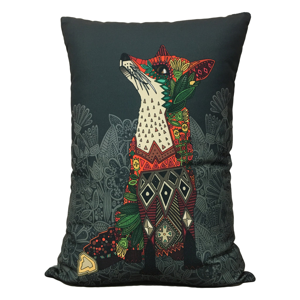 Floral Fox Grey Throw Pillow 17x23""