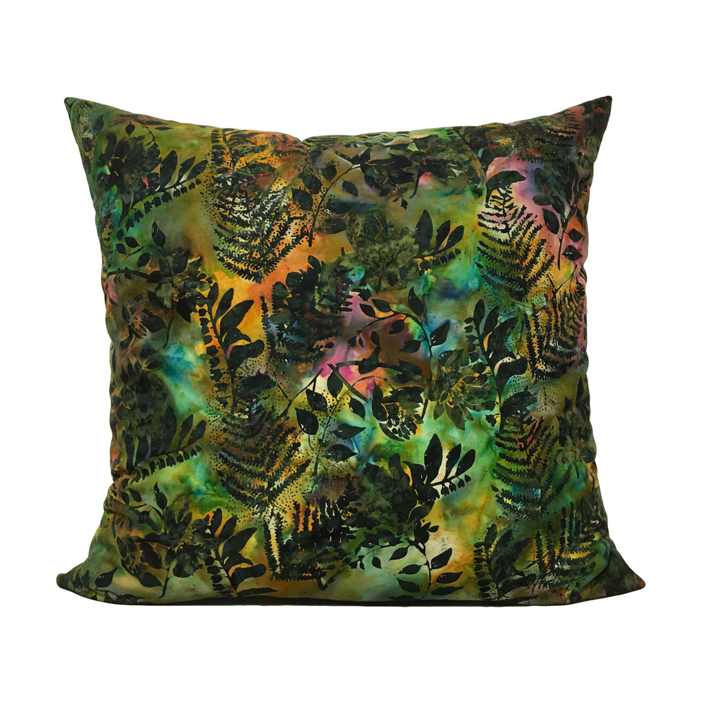 Foliage Batik Green Throw Pillow 20x20""