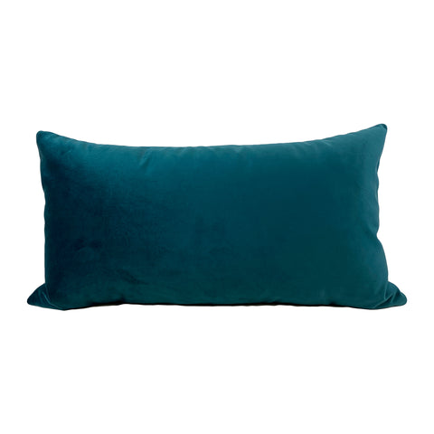 Franklin Velvet Petrol Lumbar Pillow 12x22""