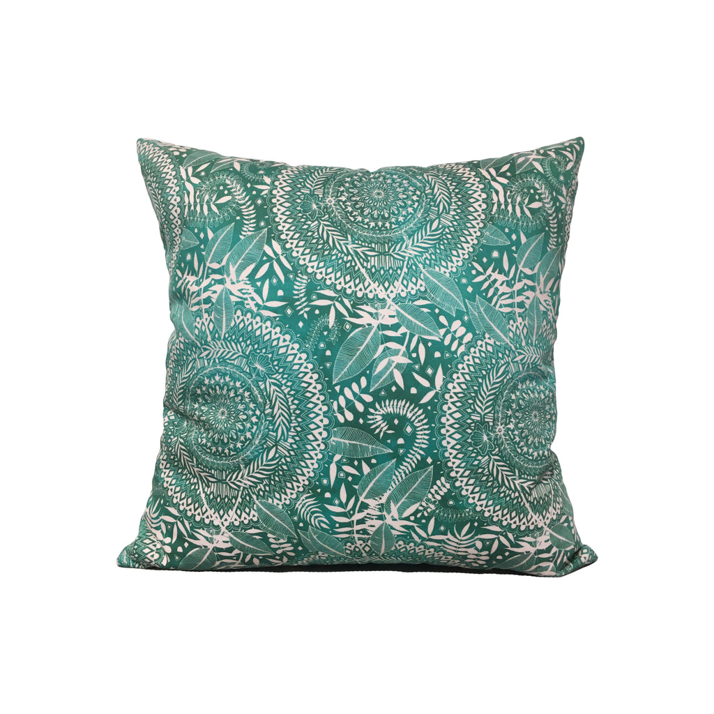 Nature Teal + Cream Throw Pillow 17x17""