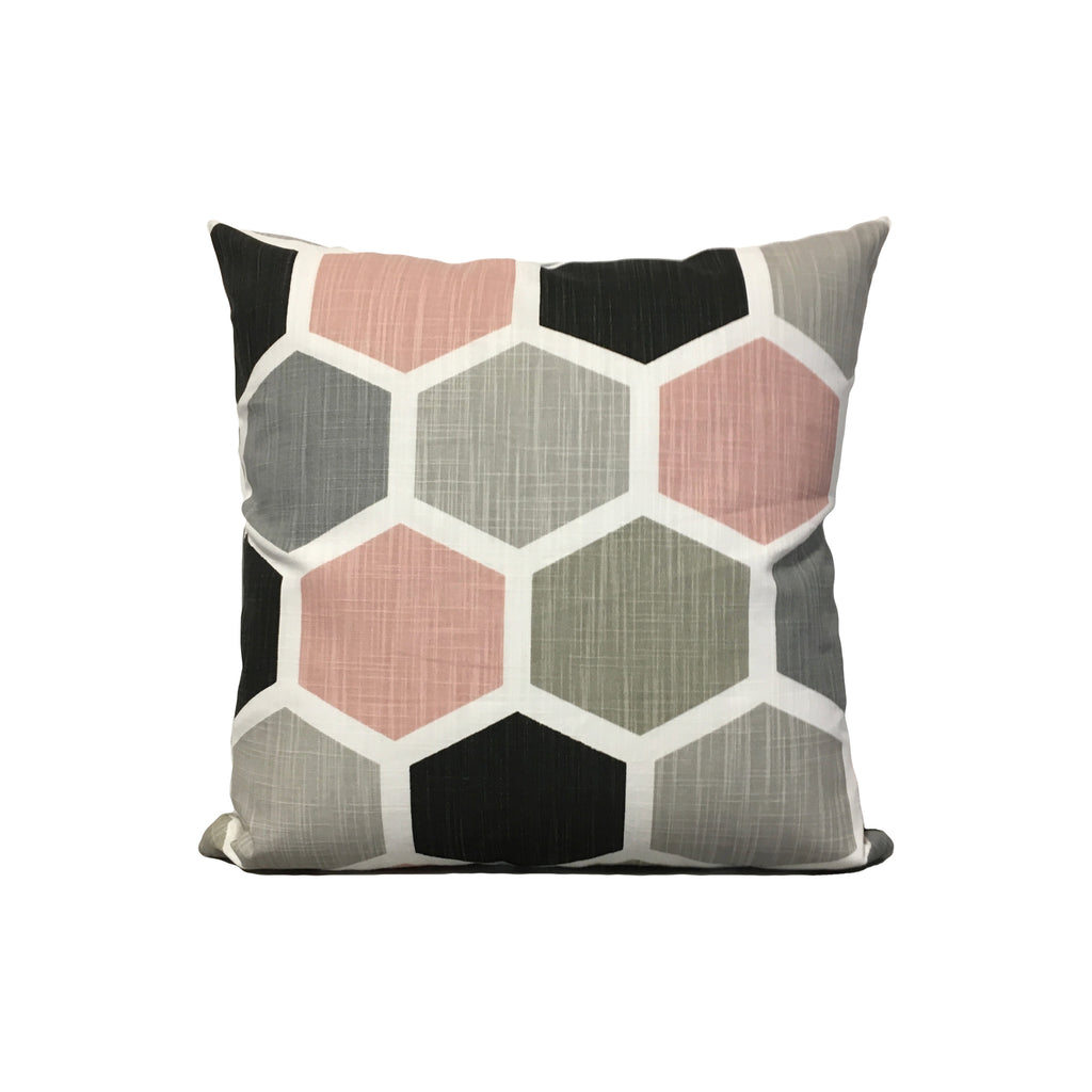 Hexagon Grey Pink Throw Pillow 17x17""