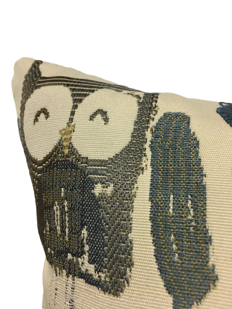 Hootville Cobalt Owls Throw Pillow 17x17""