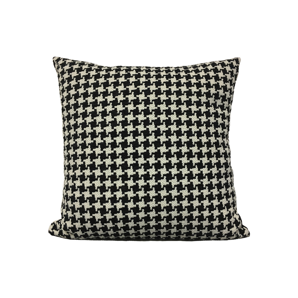 Houndstooth Black Throw Pillow 17x17""