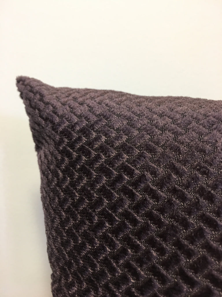 Basketweave Velvet Grape Throw Pillow 17x17""