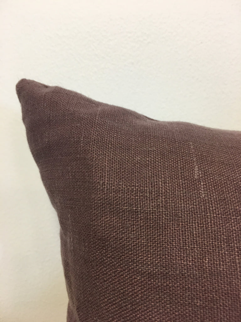 Linen Plum Lumbar Pillow 12x22""