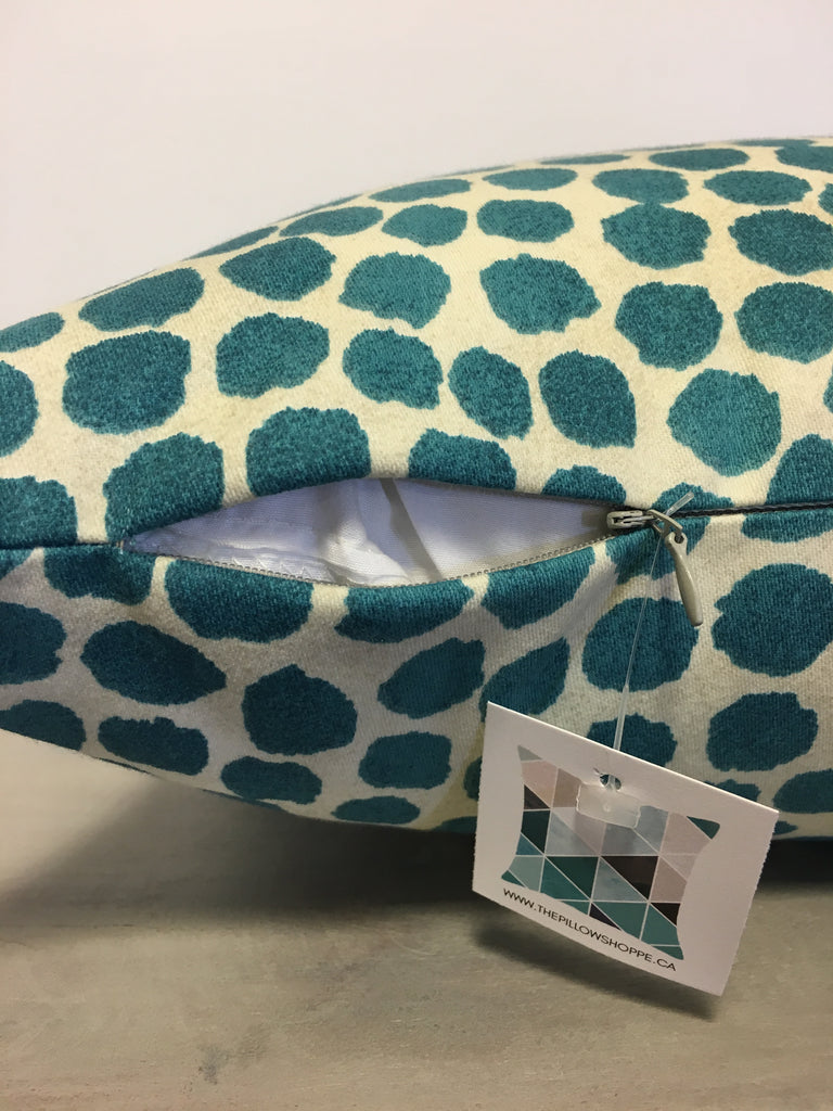 Puff Dotty Peacock Throw Pillow 17x17""