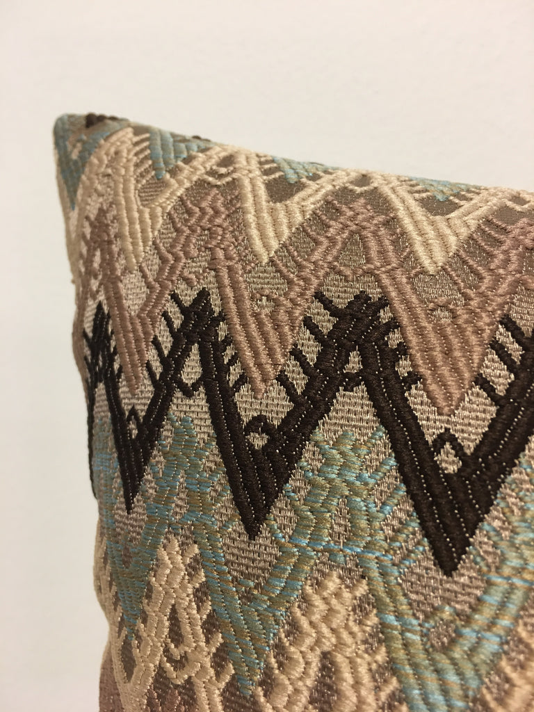 Reconnect Bluebell Chevron Throw Pillow 20x20""