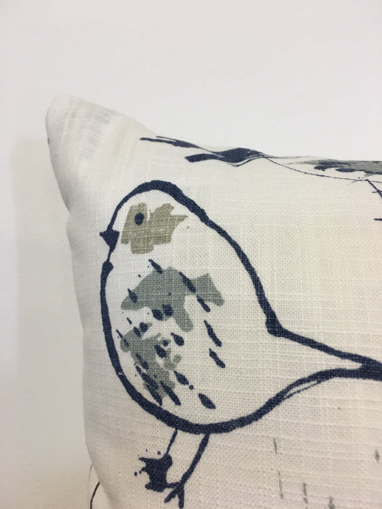 Bird Toile Regal Blue Throw Pillow 17x17""