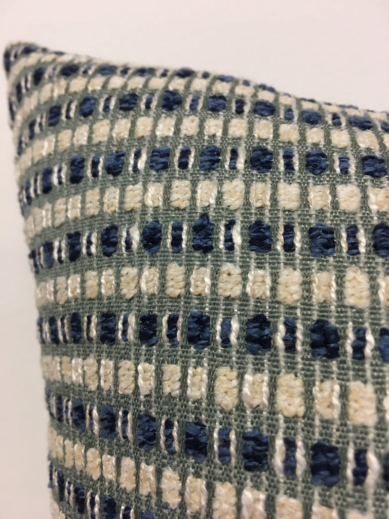 Blue Chex Throw Pillow 17x17""
