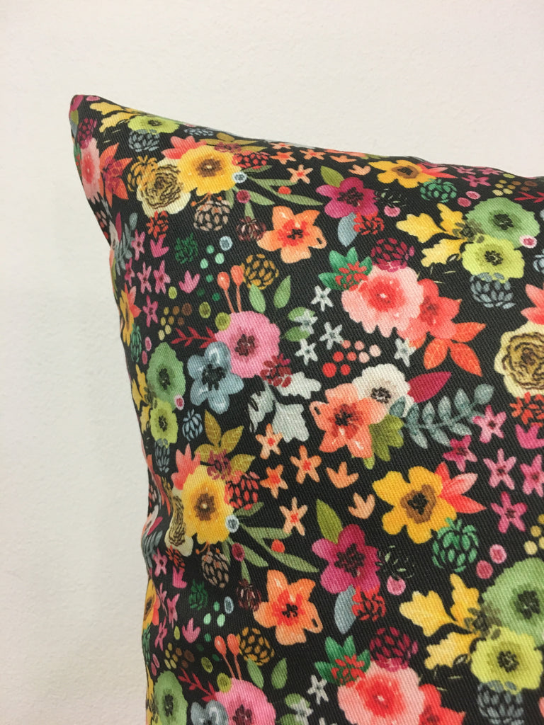 Spring Floral at Night Throw Pillow 17x17""