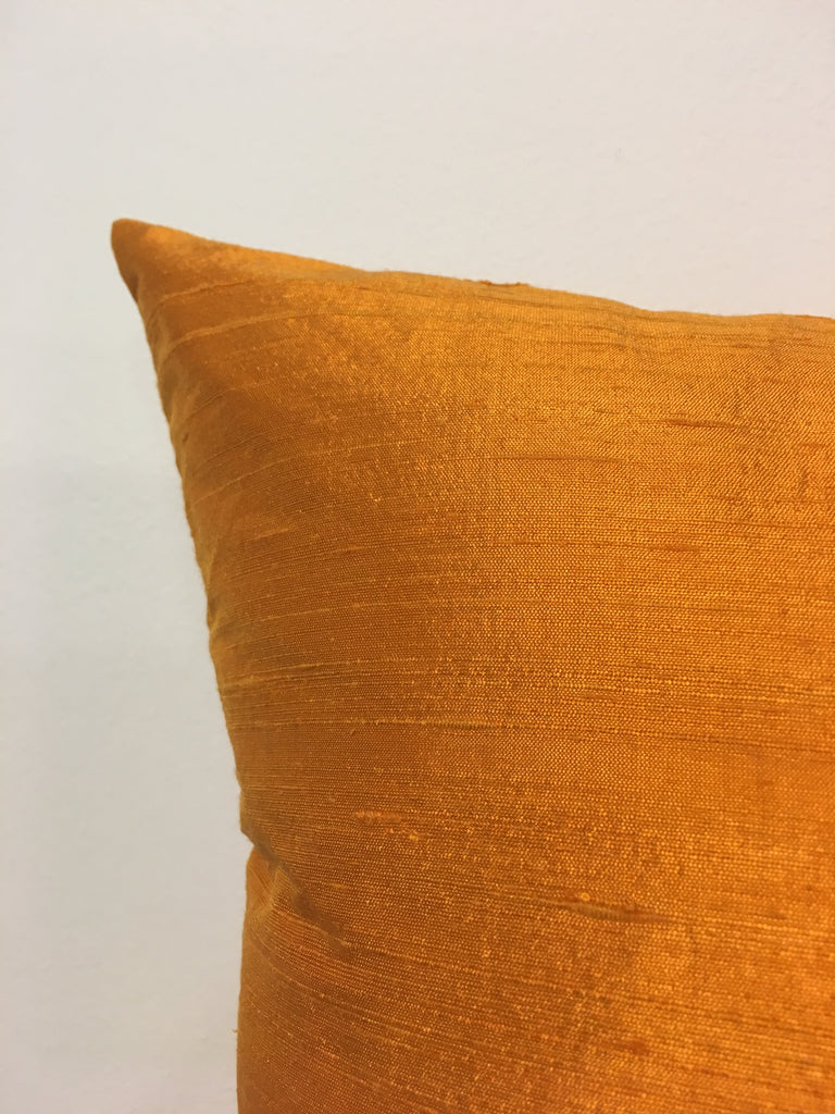 Dupioni Silk Pumpkin Throw Pillow 17x17""