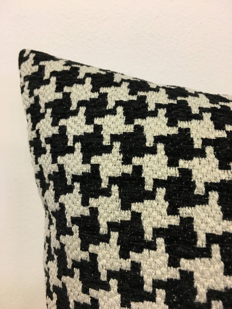 Houndstooth Black Lumbar Pillow 12x22""
